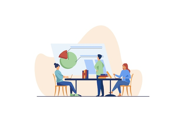 Analistas trabajando juntos y discutiendo el gráfico. empresa, empleado, mesa ilustración plana.