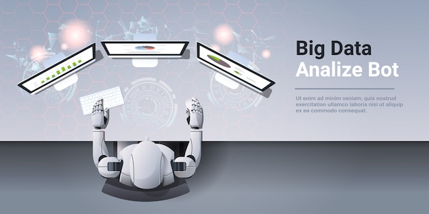 Analítica informe comercial resultados financieros en monitor de computadora big data analizar robot concepto robot