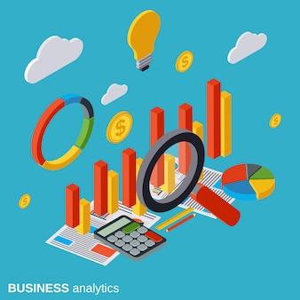 Analítica de negocios plana isométrica vector concepto ilustración