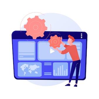Analítica de publicidad en internet. seo, marketing, informes de infografías. promoción digital, publicidad en redes sociales. ilustración de concepto de promoción de contenido de video
