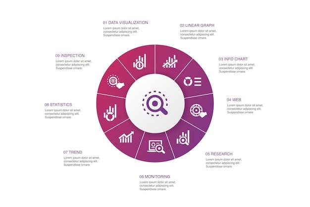 Analytics infografía diseño de círculo de 10 pasos.gráfico lineal, investigación web, tendencia, seguimiento de iconos simples