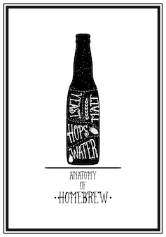 Anatomía de la cerveza casera - fondo tipográfico
