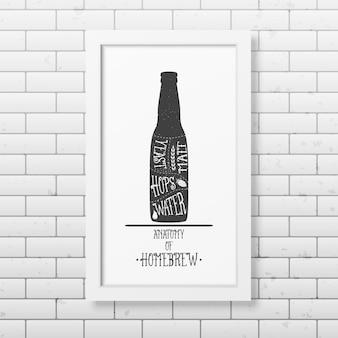 Anatomía de la cerveza - fondo tipográfico en marco blanco cuadrado realista en el fondo de la pared de ladrillo.
