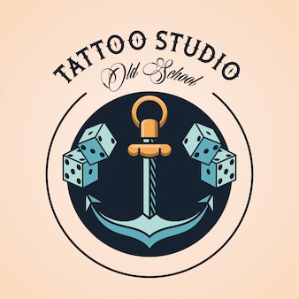 Anchor and dices tattoo studio logo