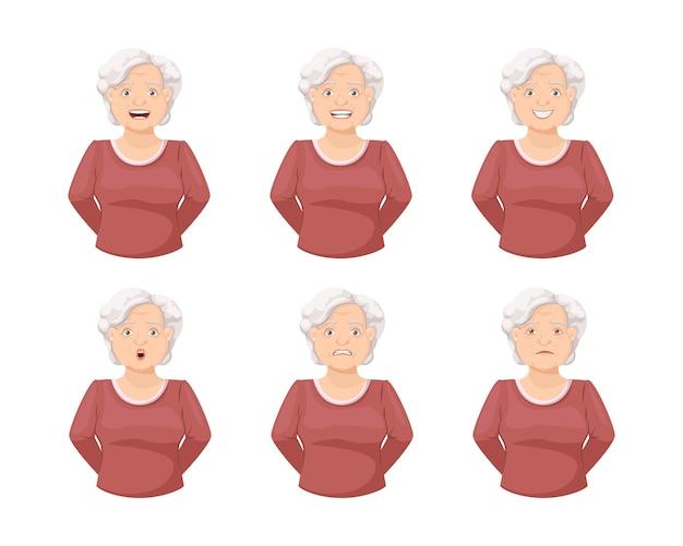 Anciana abuela cara emoción conjunto anciano expresión facial