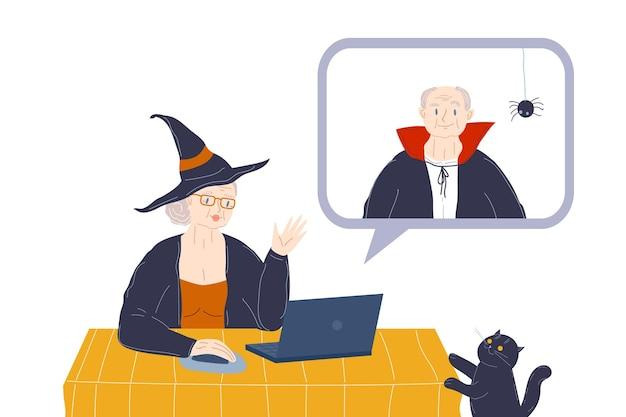 Anciana y anciano en disfraces de halloween en el sitio de citas distancia social remota en línea