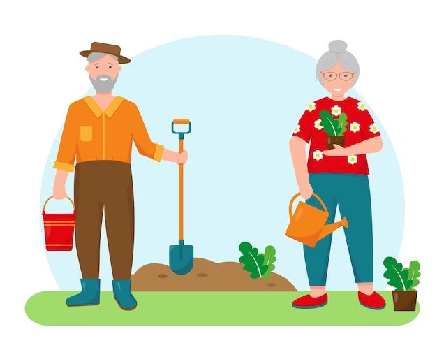 Anciana y anciano con plantas y herramientas de jardinería en el jardín. concepto de jardinería. ilustración de fondo o banner de primavera o verano.