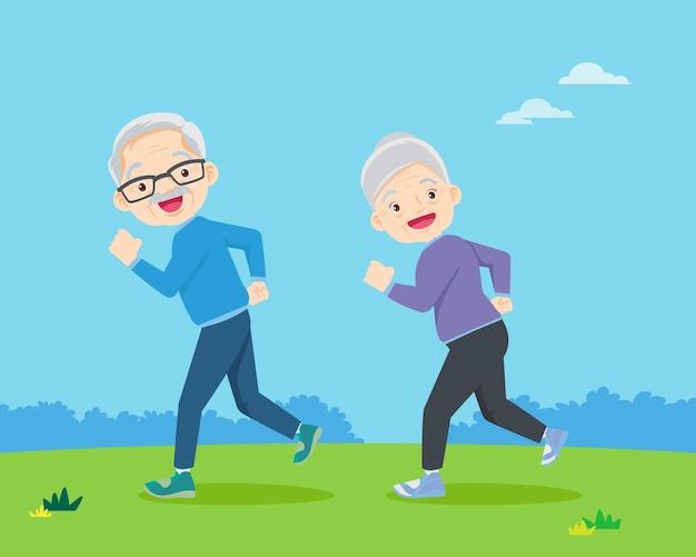 Anciana y anciano trotando en el parque