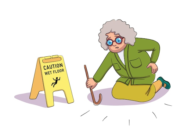 Anciana asustada cayendo cerca de precaución piso mojado cartel amarillo