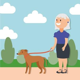 Anciana caminando con perro personaje senior activo
