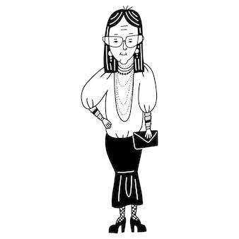 Anciana dama anciana persona de sexo femenino con anteojos en forma abuela abuela vistiendo falda godet y ...