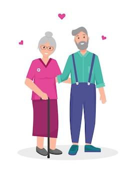 Anciana y hombre felices juntos