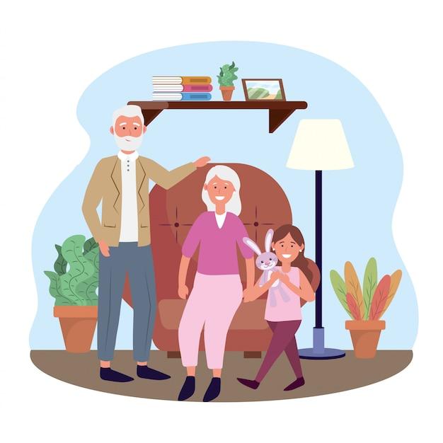 Anciana y hombre con niña y plantas.