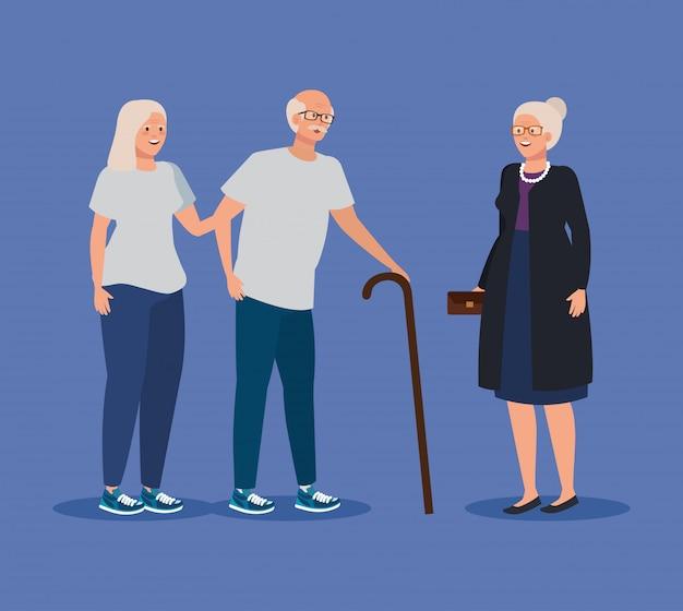 Anciana y hombre pareja juntos y amigo