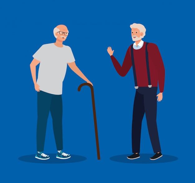 Ancianas con bastón y peinado