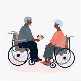 Anciano y mujer relación matrimonio novios discapacitados en silla de ruedas feliz vejez