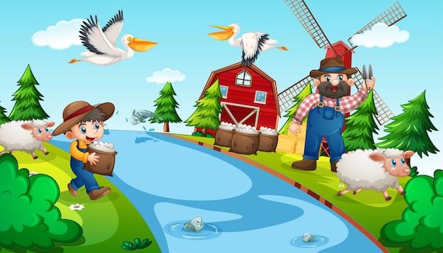 Anciano y niño en una granja con animales.