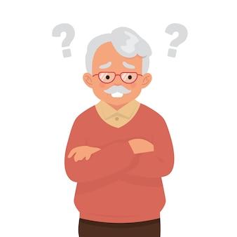 Un anciano está pensando con muchas preguntas.
