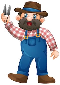 Anciano en personaje de dibujos animados uniforme de granjero en blanco