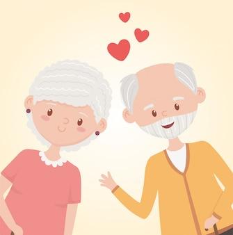 Ancianos, abuelos felices, pareja madura aman personajes de dibujos animados