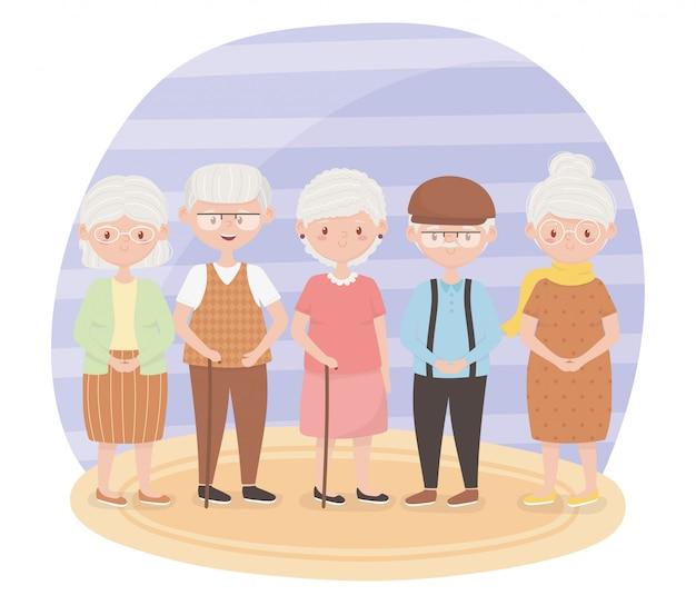 Ancianos, abuelos de grupo, personajes de dibujos animados de personas maduras