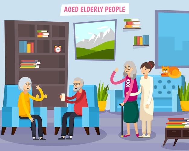 Ancianos ancianos composición ortogonal