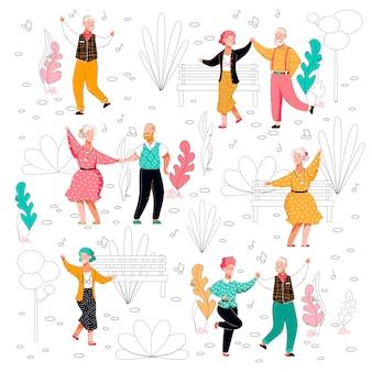 Ancianos bailando en el parque - cartel plano con un grupo de bailarines mayores