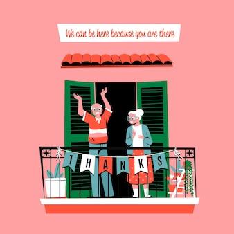 Ancianos en el balcón aplaudiendo