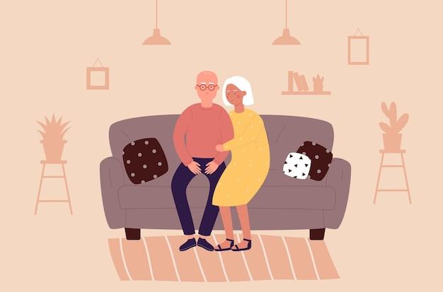 Ancianos en casa ilustración plana.
