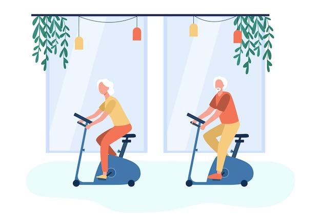 Ancianos entrenando en bicicleta estática en el gimnasio. ilustración de dibujos animados