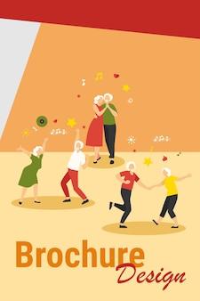 Ancianos felices bailando ilustración vectorial plana aislada. abuelos y abuelas mayores de dibujos animados que se divierten en la fiesta. concepto de club de música y baile.