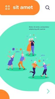 Ancianos felices bailando ilustración vectorial plana aislada. abuelos y abuelas mayores de dibujos animados que se divierten en la fiesta