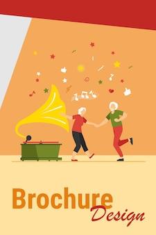 Ancianos felices bailando ilustración vectorial plana aislada. dibujos animados divertida pareja de ancianos activos divirtiéndose juntos. concepto de fiesta, estilo de vida y entretenimiento.