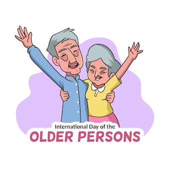 Ancianos felices con las manos en el aire