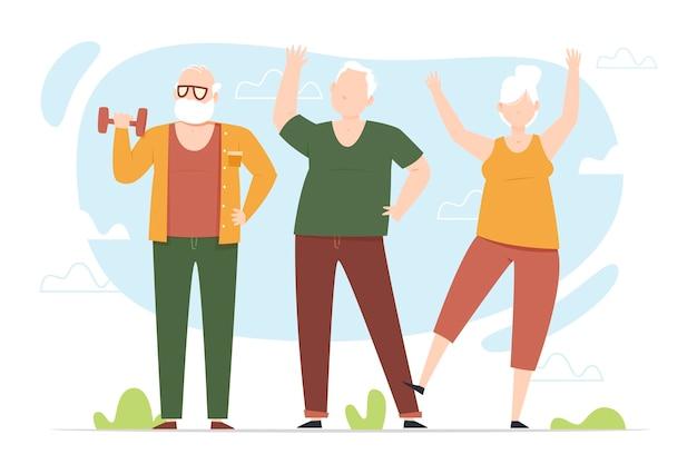 Ancianos haciendo deporte
