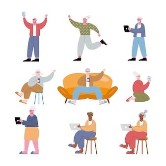 Ancianos interraciales con ilustración de tecnología
