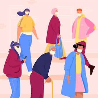 Ancianos y jóvenes en un espacio lleno de gente con máscara