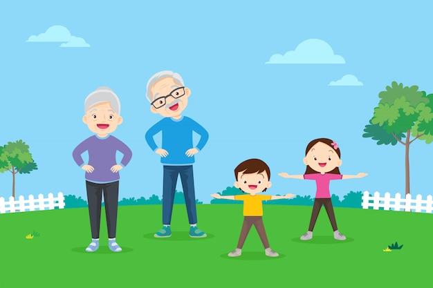 Ancianos y niños haciendo ejercicios.