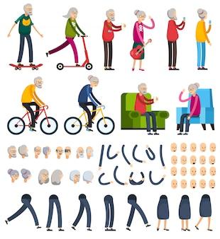 Ancianos personas constructoras ortogonales iconos