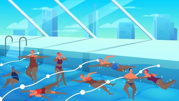 Ancianos en piscina. mujer y hombre nadando. el personaje mayor tiene una vida activa. senior en agua.