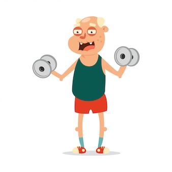 Los ancianos pueden hacer ejercicios de fitness con pesas. personaje de dibujos animados lindo aislado