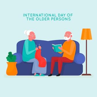 Ancianos realizando diversas actividades en el sofá.