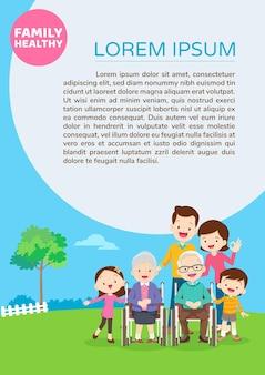 Ancianos sean felices en silla de ruedas con plantilla de póster para padres