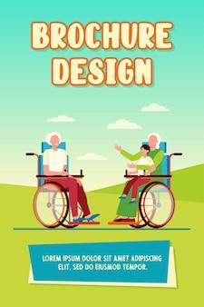 Ancianos en silla de ruedas con niño y hablando. jubilación, niño, abuelo ilustración vectorial plana