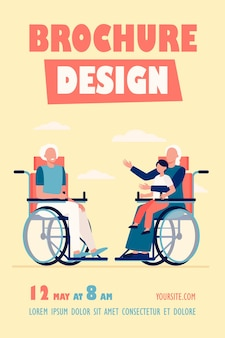 Ancianos en silla de ruedas con niño y hablando plantilla de volante