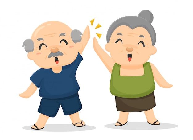 Los ancianos son felices después de recibir prestaciones sociales. cuidados post-jubilación.