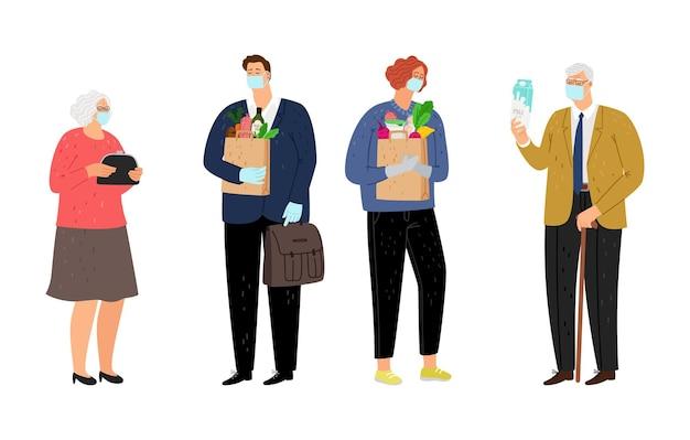 Ancianos y voluntarios. hombre joven con comida para ancianos. abuelos esperando ayuda social, ilustración de personajes de generaciones diferentes planos aislados