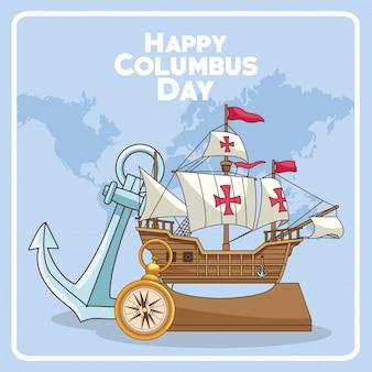 Ancla y barco de diseño feliz del día de colón