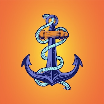 Ancla de barco náutico dibujado a mano ilustración