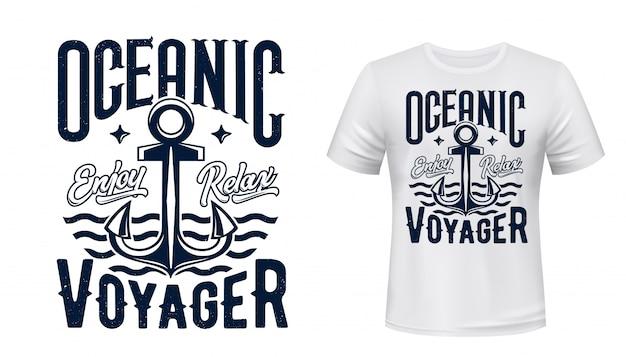 Ancla de barco de vela, estampado de camiseta